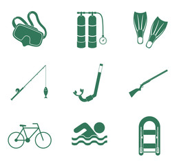 Sport and recreation icons set. Vector illustration