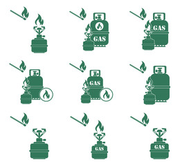 Set of camping stove and gas bottle icons. Vector illustration.