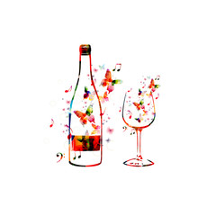 Colorful bottle and glass illustration with butterflies
