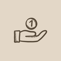 Hand and one coin sketch icon.