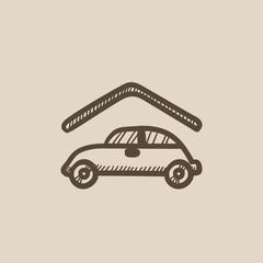 Car garage sketch icon.