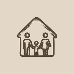 Family house sketch icon.