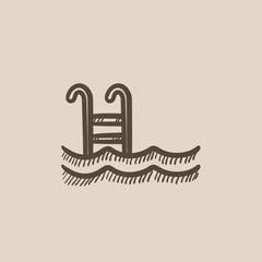 Swimming pool with ladder sketch icon.