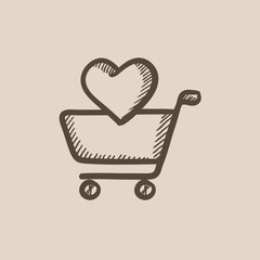Shopping cart with heart sketch icon.