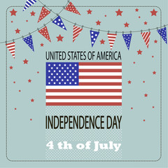 Image of the American flag, little flags  and the phrases Independence Day,4th of July and United States of America on the blue background.