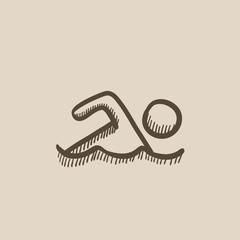 Swimmer sketch icon.