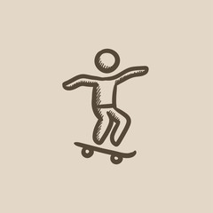Man riding on skateboard  sketch icon.