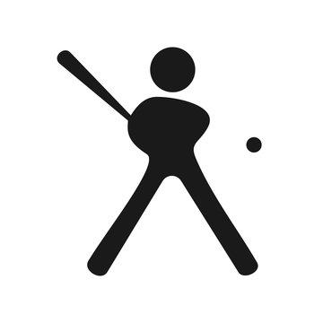 Man stick figure baseball player