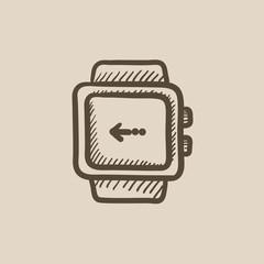 Smartwatch sketch icon.