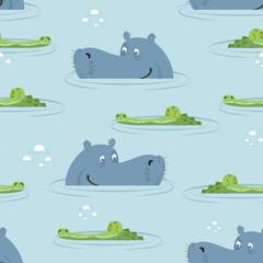 Hippo and crocodile in water seamless pattern. Good hippopotamus