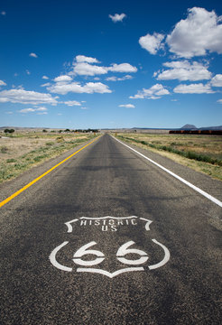 Historic US Route 66 as it crosses though a rural area in the state of Arizona.