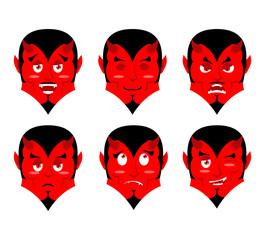 Emotions devil. Set expressions avatar Satan. Red Demon good. Lu