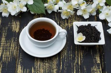 Jasmine tea with jasmine flower