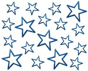 Watercolor grunge blue stars on white background