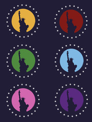 Statue of Liberty in the background of the moon (the circle). Six colors set. Vector Image. Poster, banner, print.