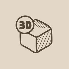 Three D box sketch icon.