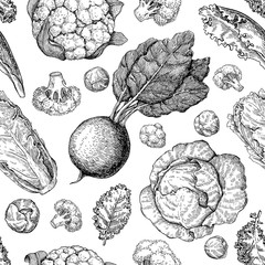 Vegetable drawing seamless vector pattern. Farm market products.