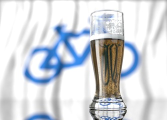 a glass of beer in front a bicycle flag. 3D illustration rendering