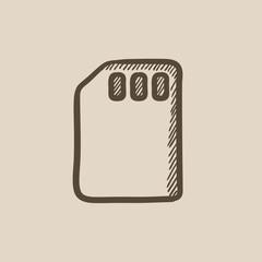 Sim card sketch icon.