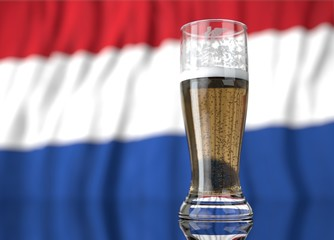 a glass of beer in front a netherlands flag. 3D illustration rendering.