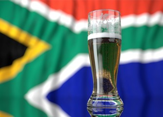 a glass of beer in front a south african flag. 3D illustration rendering.