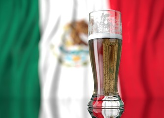 a glass of beer in front a mexican flag. 3D illustration rendering.