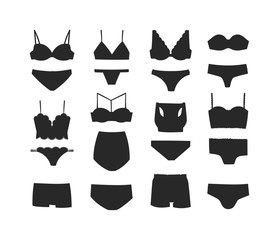 Underwear black silhouette isolated male and female underwear isolated on white background. Underwear isolated vector clothing cotton textile pants and underwear isolated beauty bra woman accessory