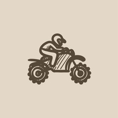 Man riding motocross bike sketch icon.