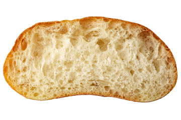 Slice of the bread isolated over the white background