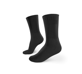 Blank black socks design mockup, isolated, clipping path. Pair sport crew cotton socks wear mock up. Long clear soft cloth stand presentation. Men basketball, football, tennis plain apparel template.