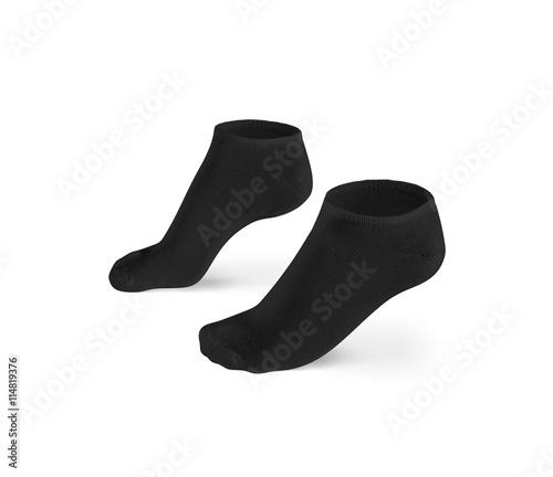 blank black short socks design mockup isolated clipping path pair