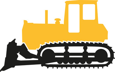 Wall Mural - Bulldozer in black and yellow