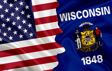 Flag of USA and flag of the State of Wisconsin
