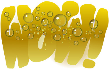 'WOW' text with dewy surface on a glass of cold drink (beer, champagne, orange or lime juice). .EPS 10 with transparent background.