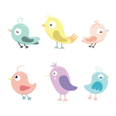 Vector Collection of Pastel Birds.