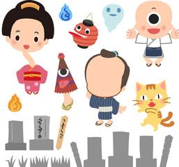 日本の妖怪とお墓のイラストセット