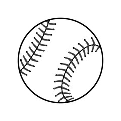Baseball ball sign. Black softball icon isolated on white background. Equipment for professional american sport. Symbol play, team, game and competition, recreation. Simple design. Vector illustration
