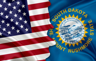 Flag of USA and flag of the State of South Dakota