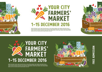 Farmers market banner concept, vector Illustration
