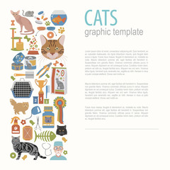 Cat characters and vet care icon set flat style. Graphic templat
