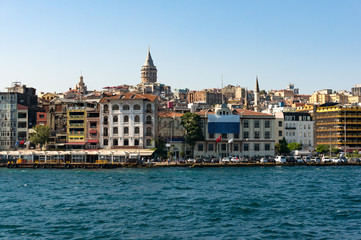Istanbul Beyoglu district cityscape and famous landmark Galata Kulesi, Tower. Urban skyline with copy space