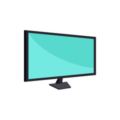 Computer monitor icon in cartoon style on a white background