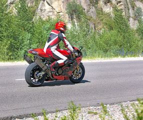 motorcyclist biker fast riding