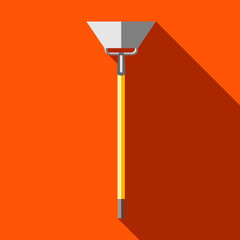 Hoe, digging tool icon in flat style on a orange background