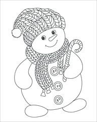 раскраска для детей.Снеговик
