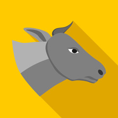 Head of gray cow icon in flat style on a yellow background