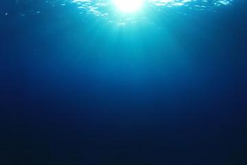 Underwater blue water background in sea