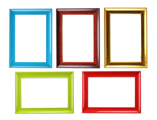 Old wooden frame collection isolated.