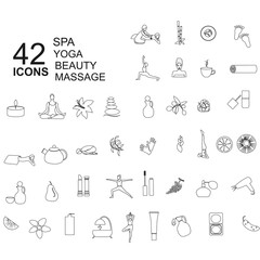 Set of spa, beauty icons in linear style
