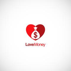 love money heart vector logo